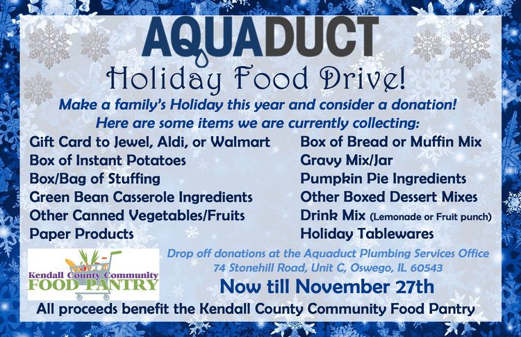 Aquaduct holiday food drive flyer